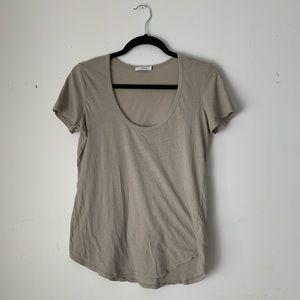 "Aritzia   Talula tan relaxed ""U-neckline"" T-shirt"